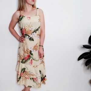 Vintage Floral Hawaiian Midi Yellow Sun Dress 803